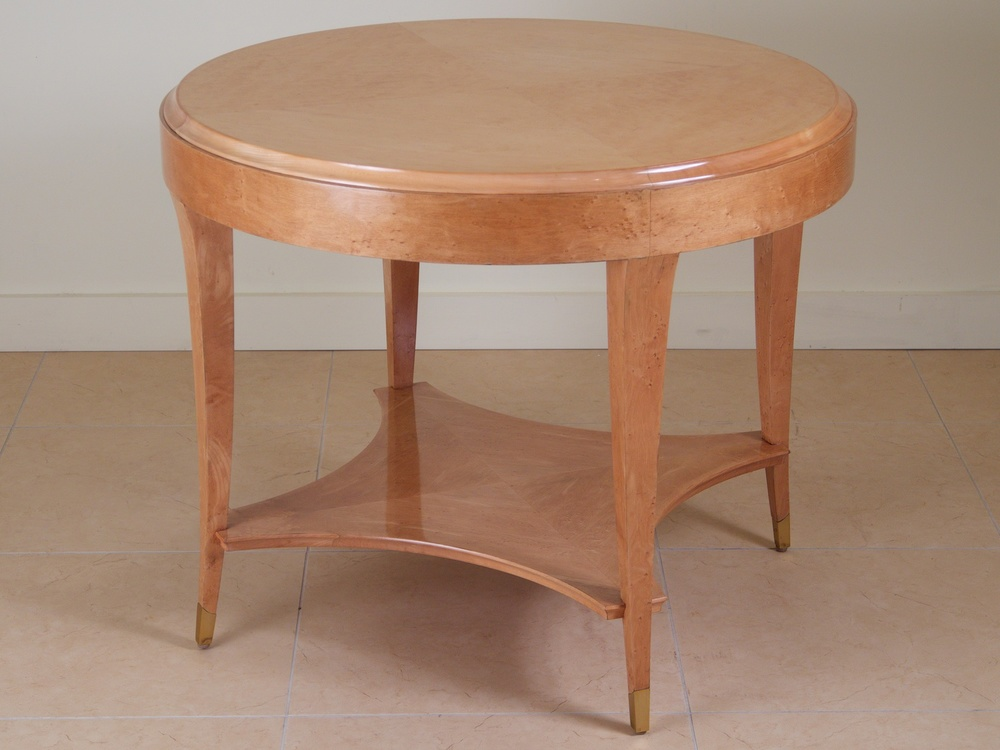 Andre Arbus Burled Maple Bronze Side Table 3