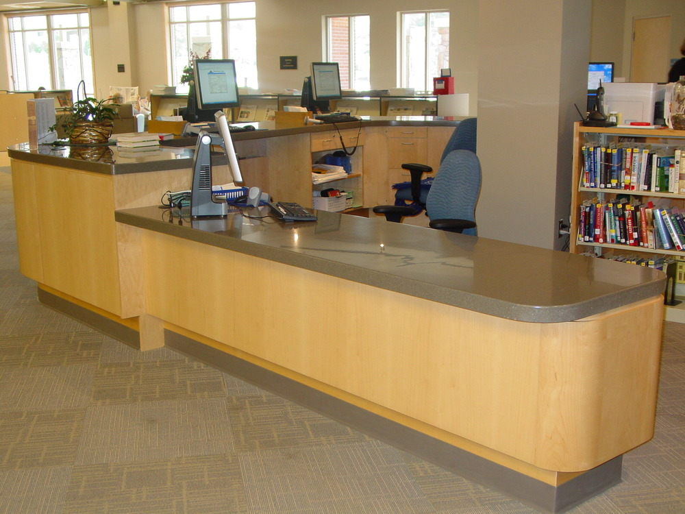 Custom Maple & Corian Reception Desk -Transylvania County Library-
