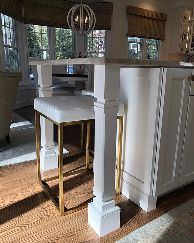Perfect lighting + custom islands = one dreamy space.  #customcabinetry #forestmillwork #kitchendesign #cabinetdesign #islands #kitchensofinstagram #whitekitchen
