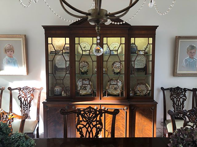 This antique china cabinet, passed down from the client's grandmother, provided our designer with inspiration for the mullions in the kitchen.  #customcabinetry  #whatinspiresyou #family #kitchendesign #forestmillwork #chinacabinet #mullions