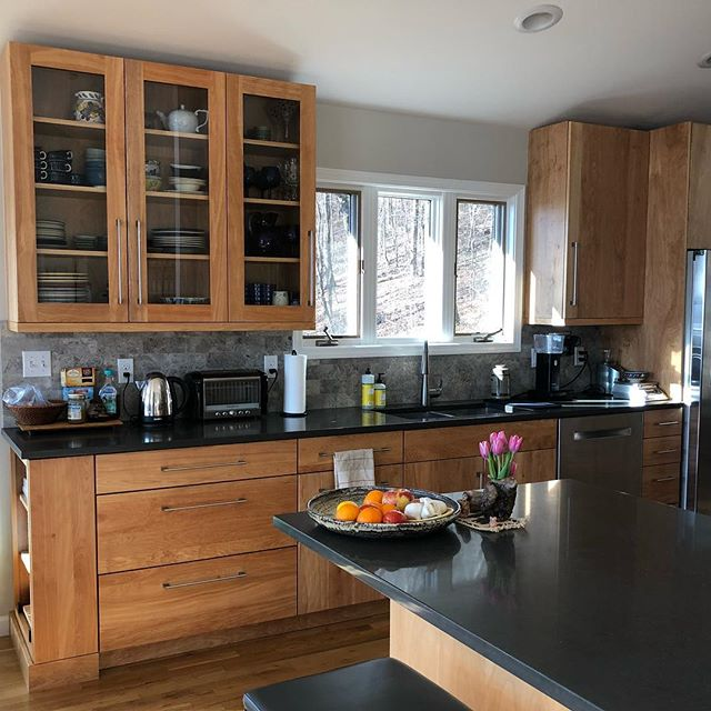 Going against the grain with this unstained, Red Birch kitchen.  Cabinetry by @plainfancycabinets  Design by @robertthemaker • • • #kitchendesign #asheville #cabinets #redbirch #forestmillwork #828isgreat #hgtv #customkitchens