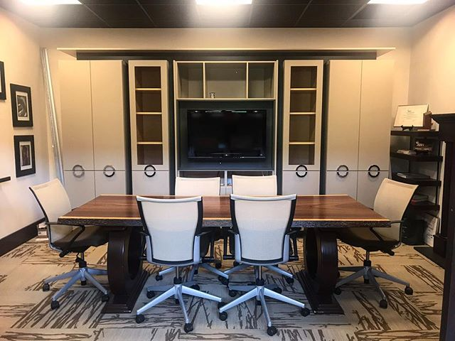 #upgrade We recently transformed our conference room with some stylish cabinetry and door pulls!  Visit our showroom Monday-Friday, 9am-5pm. Let's start a dialogue and make your kitchen dreams a reality. • • • #kitchendesign #customwoodwork #forestmillwork #828isgreat #showroom #upgrade #conferenceroom #gray #cabinetry #cabinetrydesign