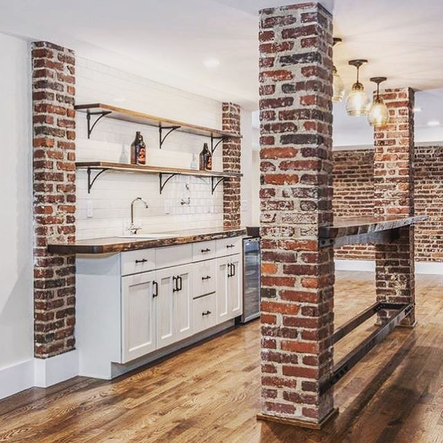Anyone else obsessed with exposed brick like we are? 🙋🏽‍♀️🙋🏼‍♂️ Our cabinetry and bar top look perfectly at home here.  #cabinets #customcabinetry #kitchendesign #homebar #exposedbrick #hgtv #renovation #asheville #828isgreat #forestmillwork