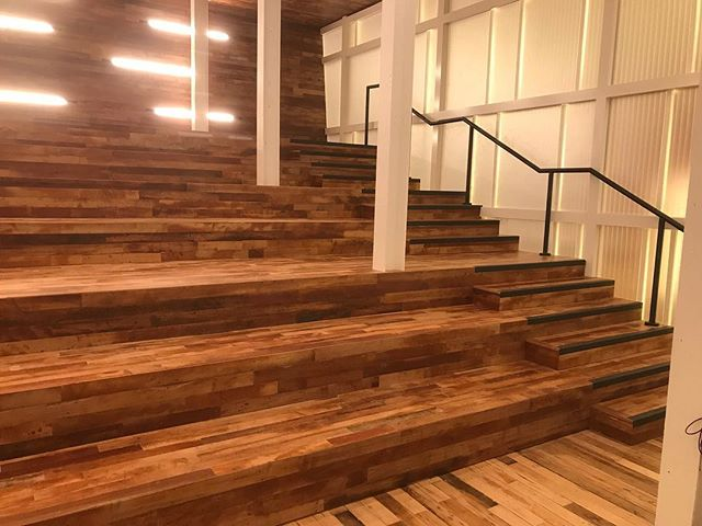 Former textile mill transformed with amazing #reclaimed maple. • • • #commercialwoodwork #woodworking #charlottenc #duke #energy #forestmillwork