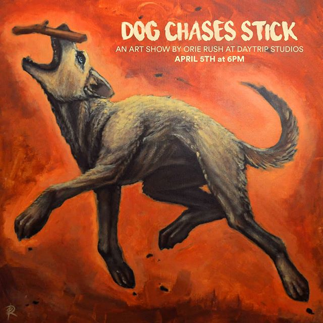 'Dog Chases Stick' I'm having an art show at @daytripstudios next month. Bare minimum of 13 new pieces which I'll be making through March and tons of old work.  #art #artshow #mansfieldart #asseeninmansfield #acrylic #dog #stick #surreal