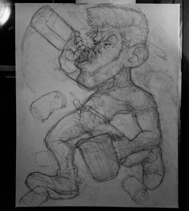 Out of the 13 pieces I will complete this month, three will be a painted series of characters: BoozeBeast (sketch pictured), WeedWizard, and ShroomShrew.  #art #artshow #sketch #figure #booze #beast #pitcher #tequila #beer #painting #acrylic #underpainting