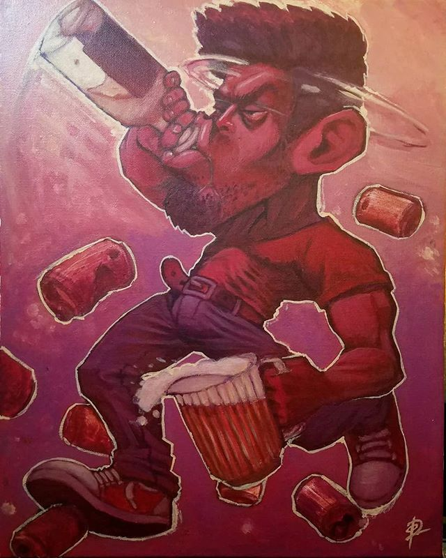 I'm not going to post many pieces this month so that the show will be special, but here's the close-to-complete BoozeBeast. This is the most fun I've had painting in a while.  #art #artshow #painting #acrylic #booze #beast #tequila #beer #drunk #red