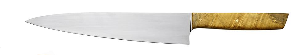 13-in. chef knife, 8-in. AEB-L blade, black liners, box elder handle