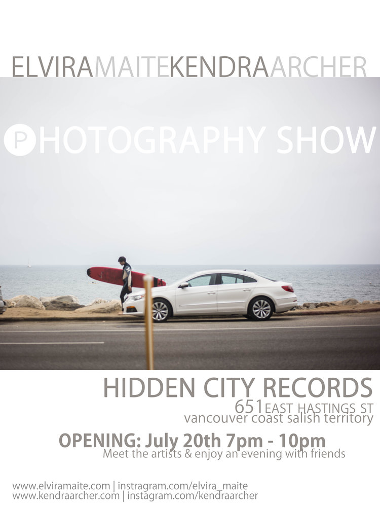 HIDDEN CITY RECORDS  - ALONGSIDE ARTIST ELVIRA MAITE MY IMAGES WERE EXPOSED AT HIDDEN CITY RECORDS IN VANCOUVER BC, JULY 2017.GRAND OPENING PHOTO GALLERY