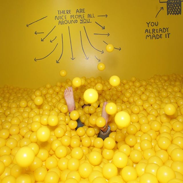Drowning in color #colorfactory #ballpit #mellowyellow