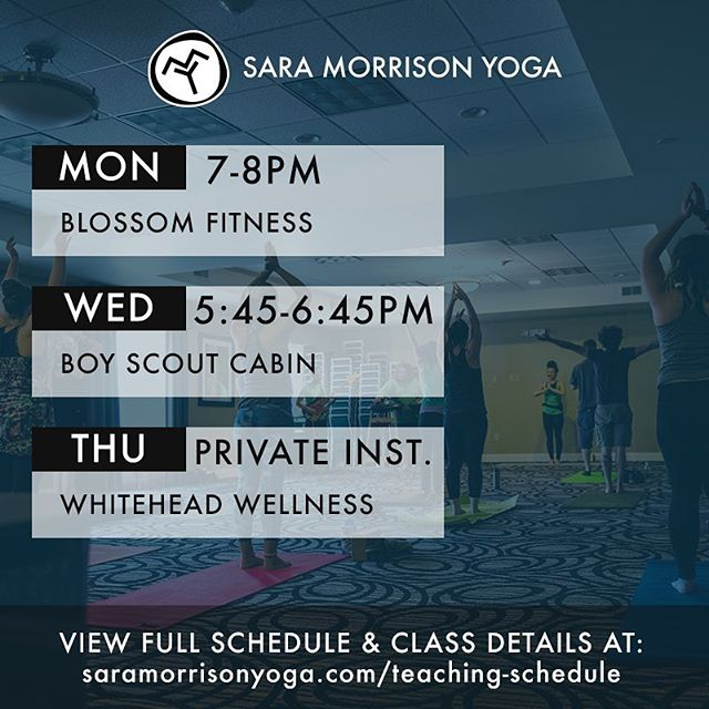 Here's my teaching schedule for the week of 9/18/17. See you in class this week! #saramorrisonyoga✌🏼
