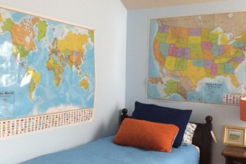 "This is my 5-year old son's room- complete with maps for some ""spaced"" geography learning"