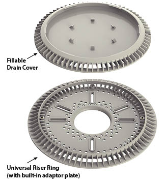 Includes drain cover, riser ring, and screw pack