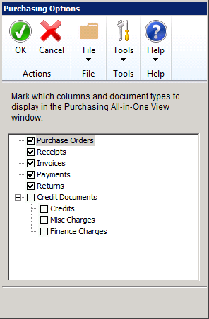 using the purchasing all in one view in dynamics gp  if you click the options button you can add credits misc charges and finance charges in an additional column