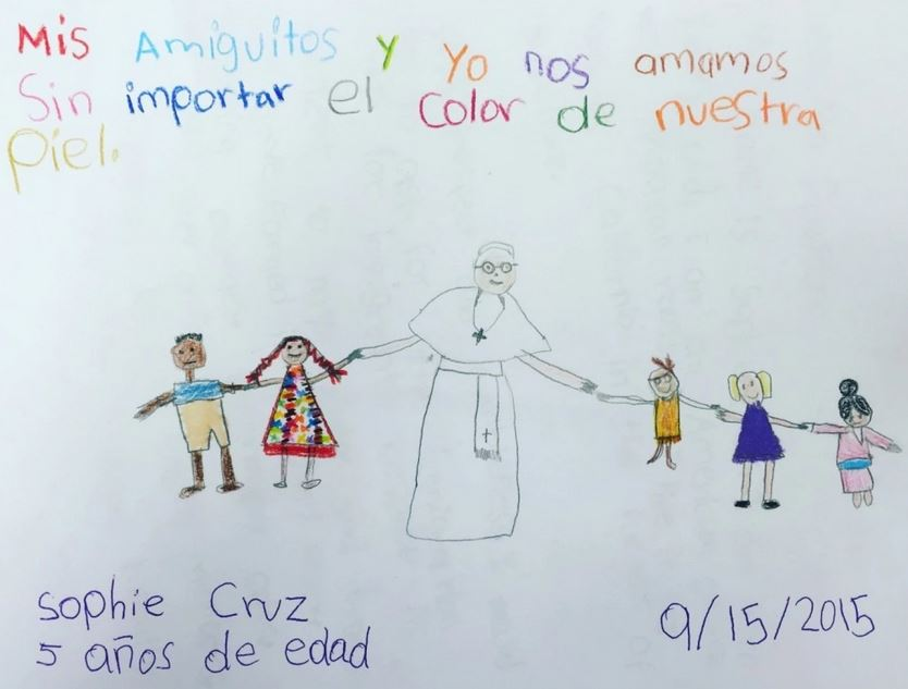 "Sophie Cruz' drawing to Pope Francis. It translates to ""My friends and I love each other regardless of our skin color."""