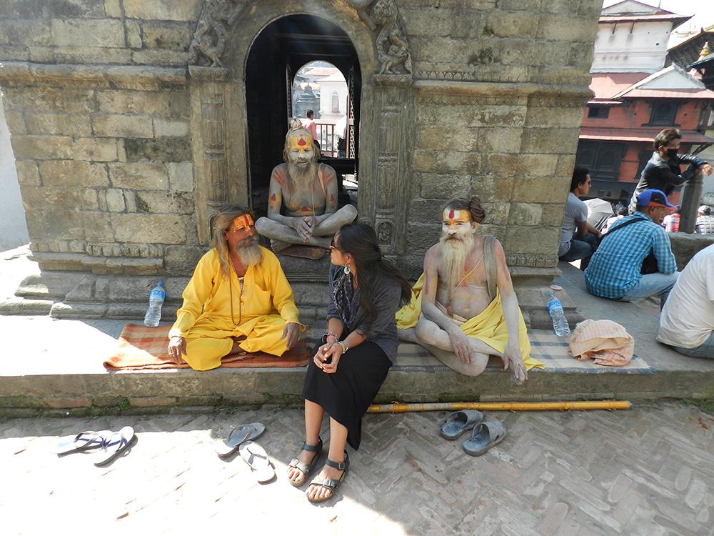 Conversing with saudha spiritual men in Nepal