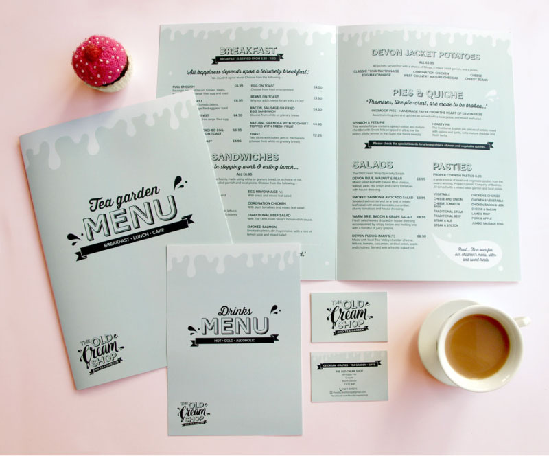 Printed collateral for The Old Cream Shop - menus and business cards