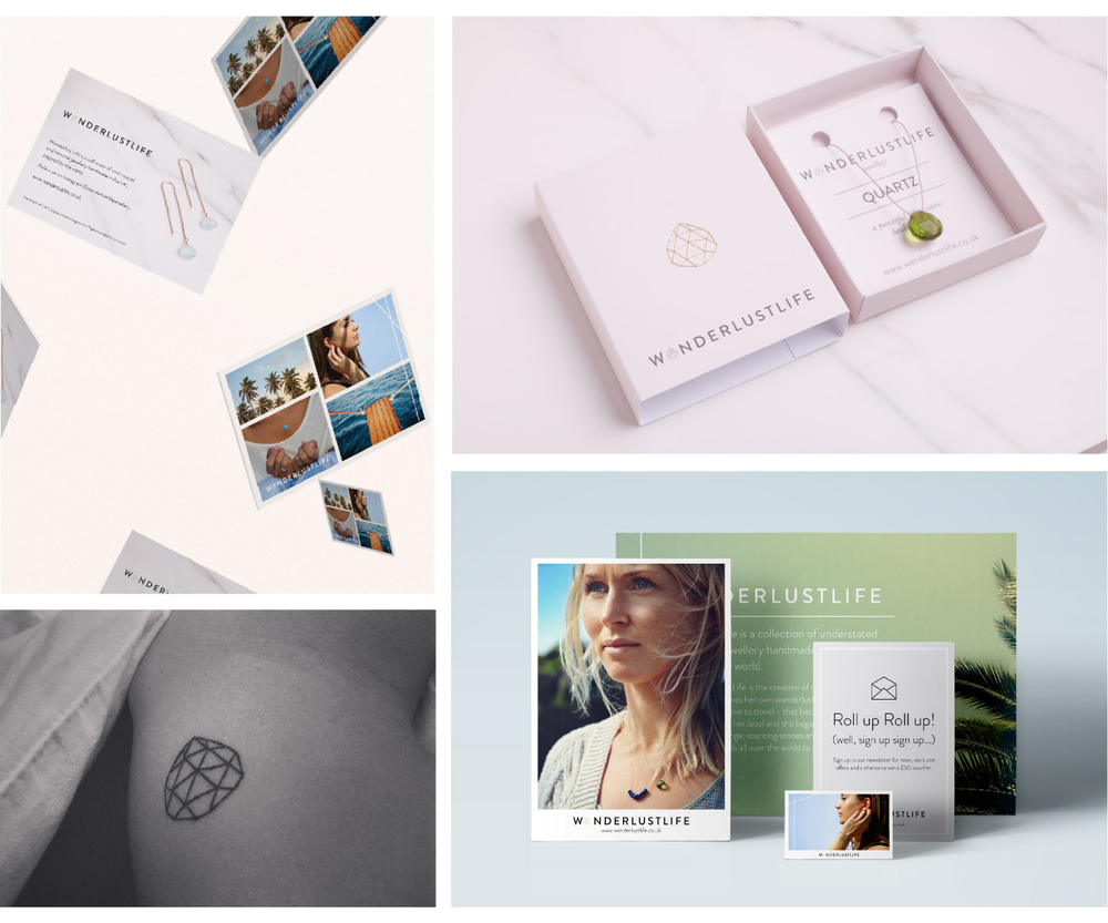 Clockwise from top left:   1. Customer leave behind postcards that capture the brand essence.   2. Jewellery packaging, photo: Adj Brown    3. Selection of printed collateral for the Wanderlust Life pop up   4. Georgie loved her logo so much she popped her tattoo cherry!