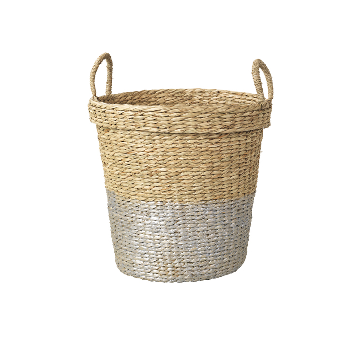 Sea grass basket with silver stripe - £38.99