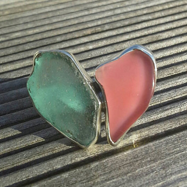 Butterfly double sea glass ring. £80