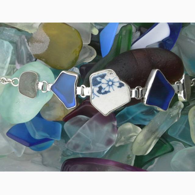 Beautiful English sea glass and pottery silver bracelet. £135
