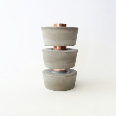 Modern Industrial Copper and Concrete Candle Holder - £8