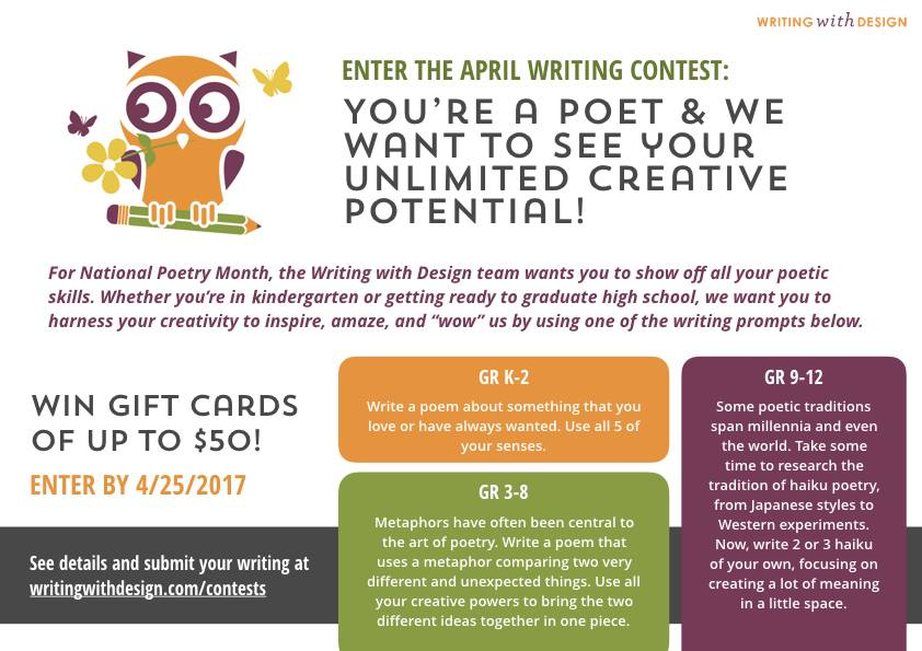 creative essay poetry contest Contest results are posted on our website and through social media in february the winning entries and judge's essay are published in the april issue (spring/summer) of event for more information, contact us at event@douglascollegeca or 604-527-5293.