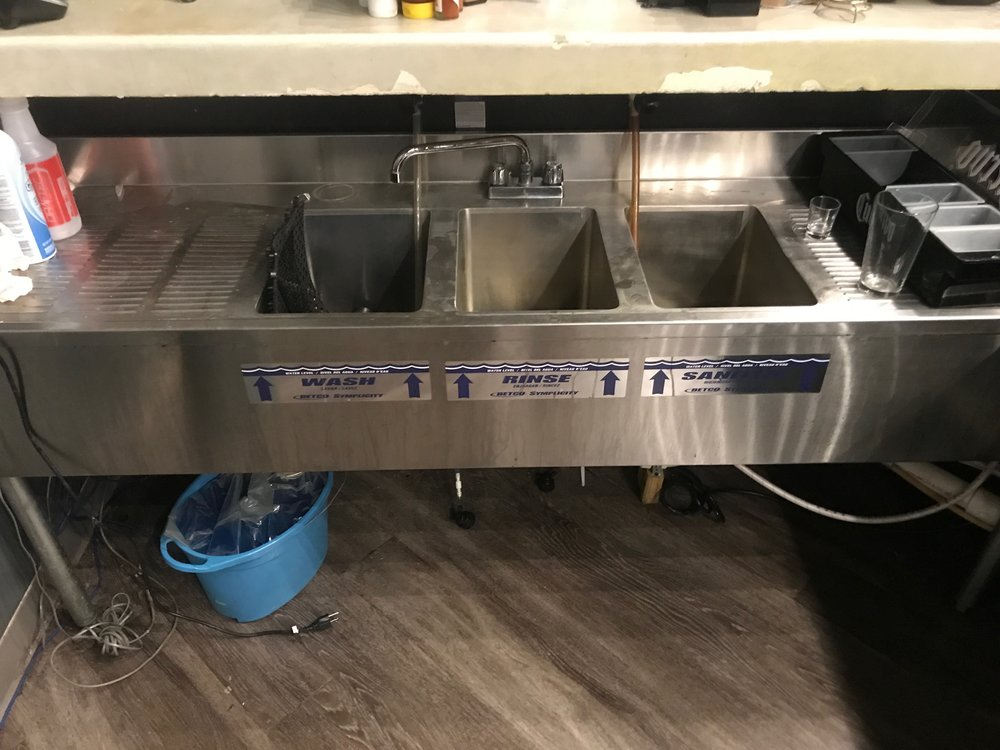 3-Compartment Bar Sink w/ 2 Drain Boards
