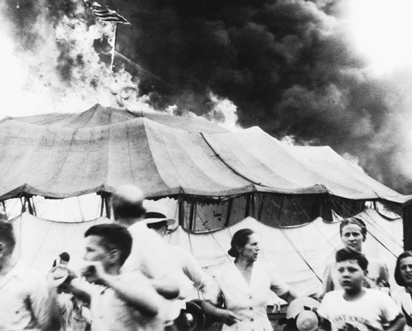 The Hartford Big Top, engulfed in flames