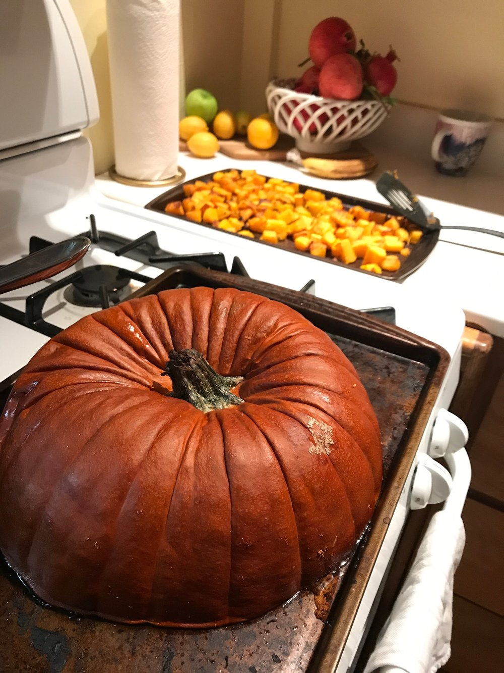 using up the rest of a large pumpkin - roast it!