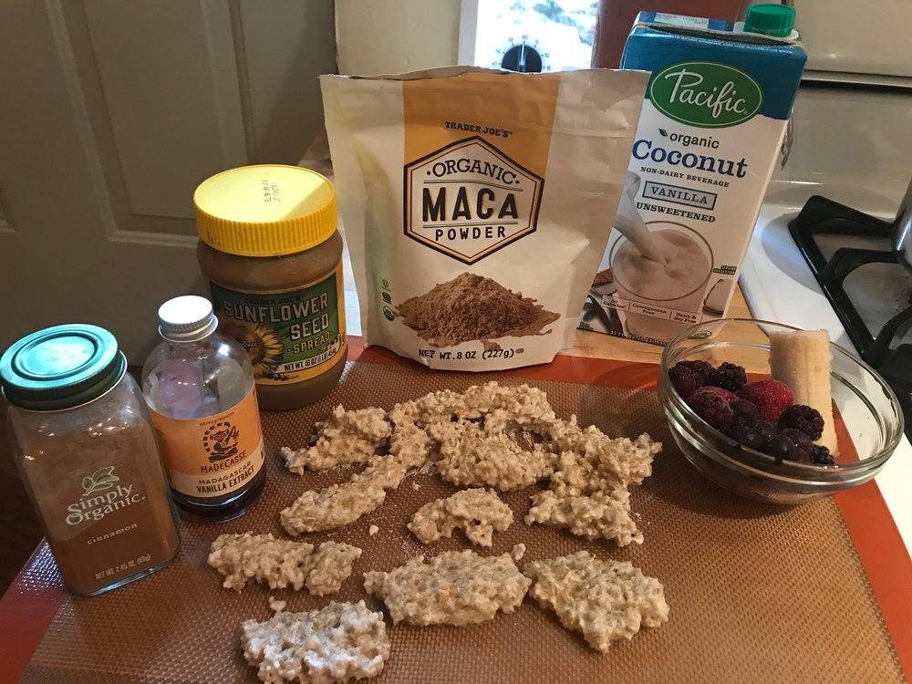 Ingredients, including frozen oatmeal (which looks kind of weird like this!)