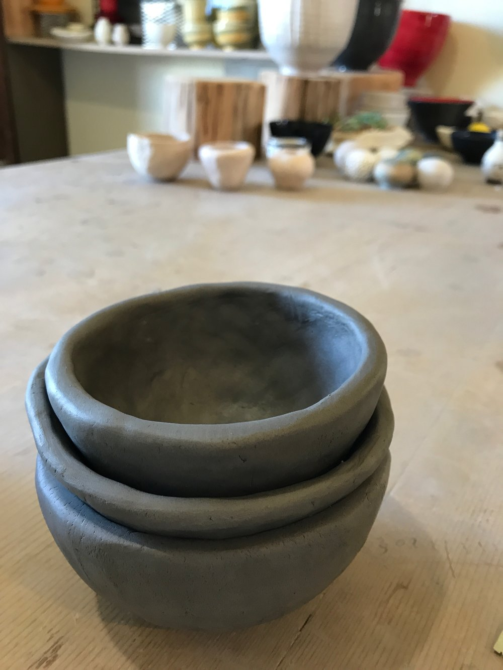 We started with hand-forming bowls - it was a small class - just two of us students plus our lovely teacher, Nicole.