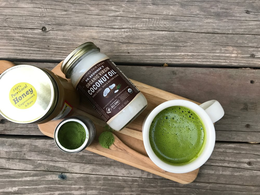 Local, raw honey,  Matcha Konomi's Akira Matcha ,  Dr. Bronner's Organic Virgin Coconut Oil .