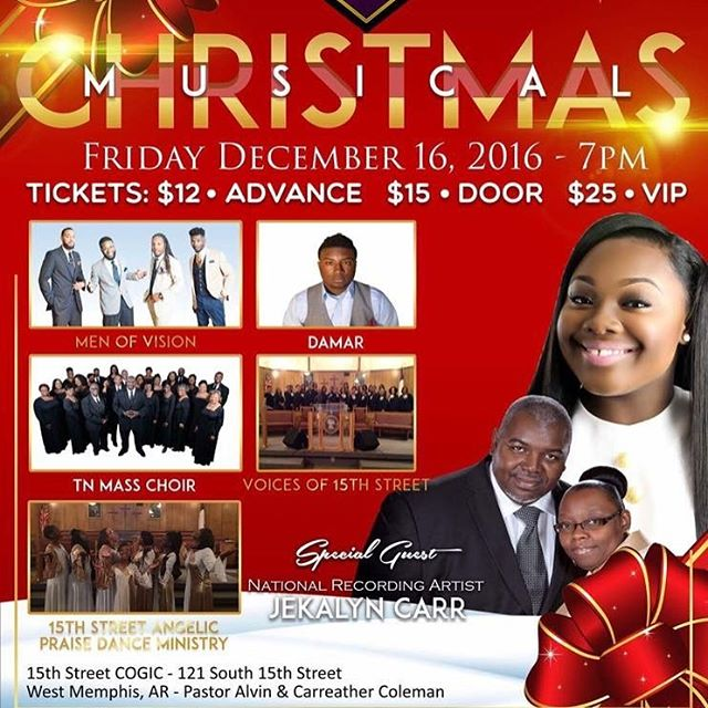We are SO EXCITED about this amazing, power packed, praise and worship experience  TONIGHT at 6pm 15th Street COGIC 121 South 15th Street West Memphis, AR!! You DO NOT want to miss this if you're in the area!!#livemusic #choir #praise #worship #christmas #follow #followback #followforfollow #followbackteam #picoftheday