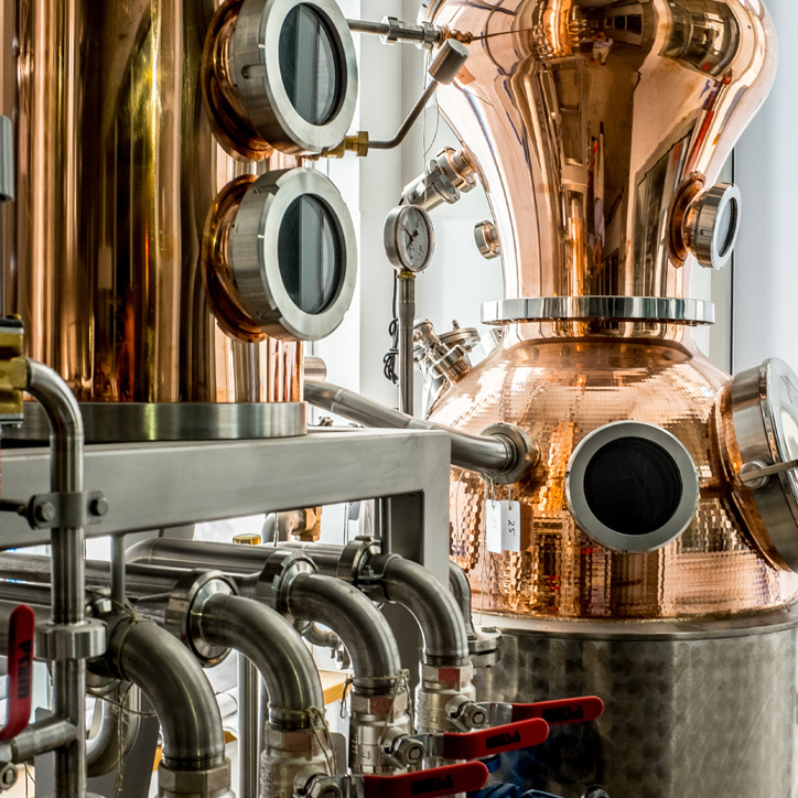Copper still at CH Distillery, Chicago