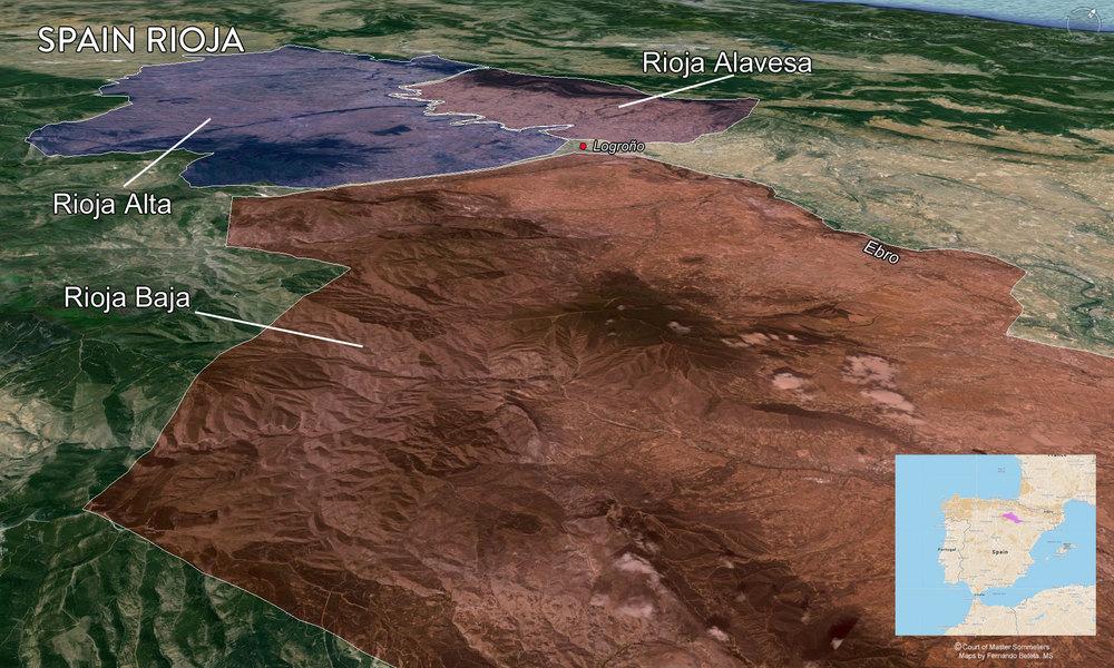 Rioja subregions: Rioja Alta, Rioja Alavesa and Rioja Baja
