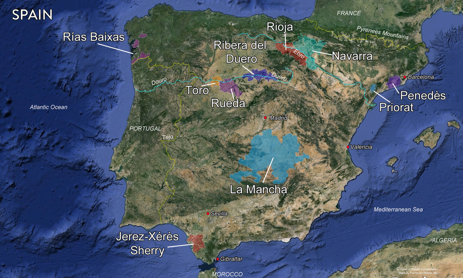 Map Spanish Wine Regions — Tenzing