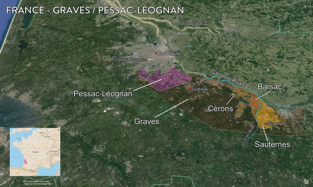 Map Graves and Pessac Leognan