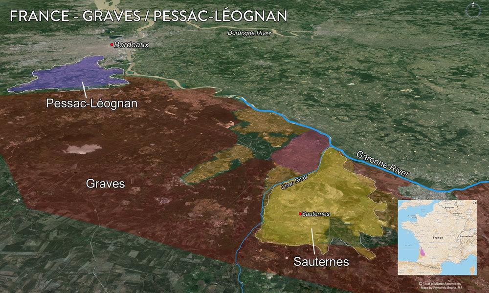 Map Graves, Pessac Leognan, Sauternes
