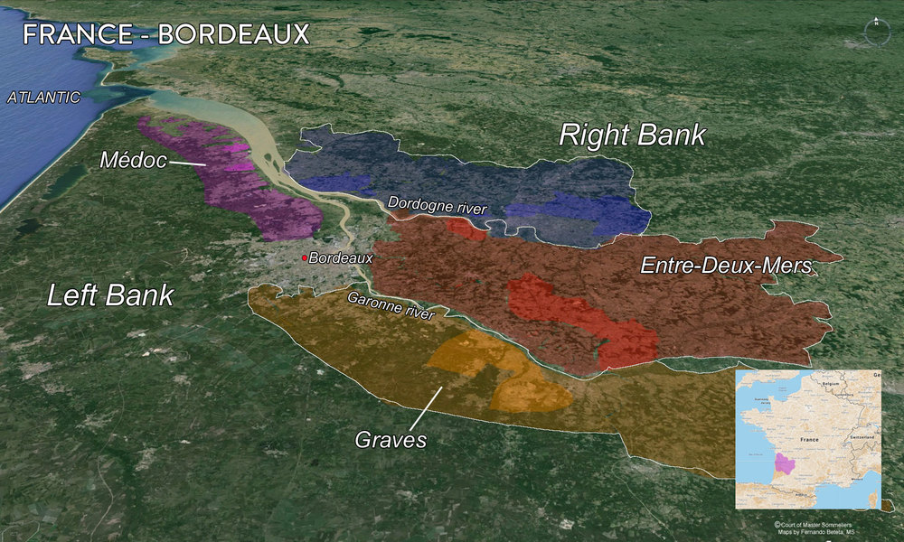 Map of Bordeaux Major Regions