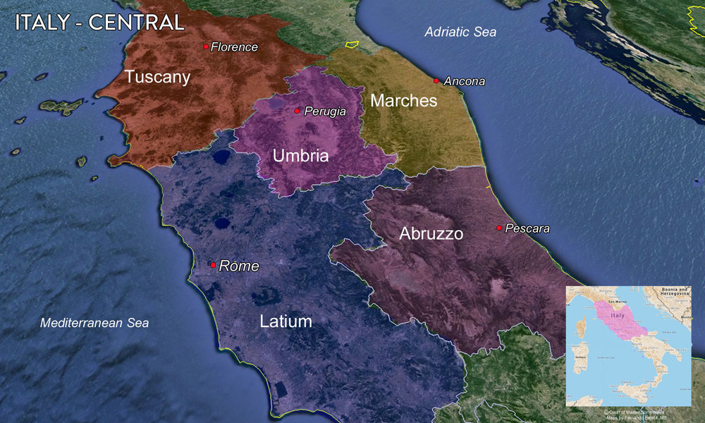 Map Central Italy