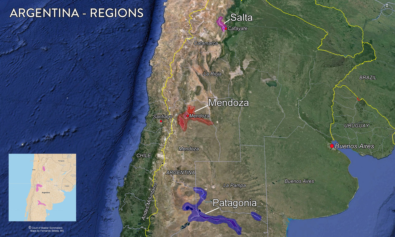 Map Argentina Wine Region Tenzing - Argentina regions map
