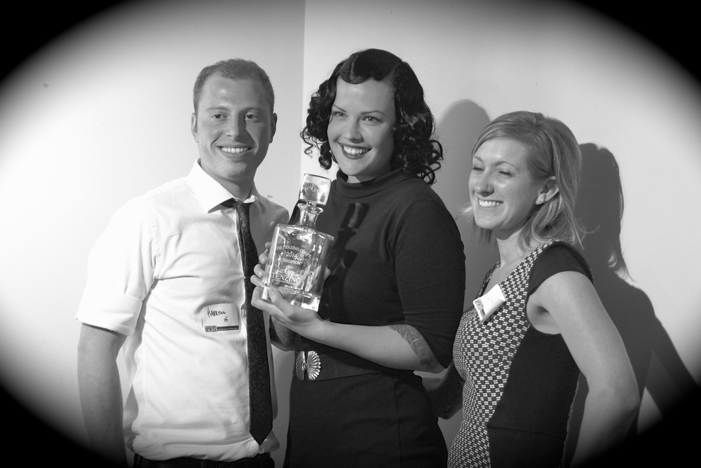 Annemarie Sagoi (center) receiving the First Annual Tenzing Coupe award.
