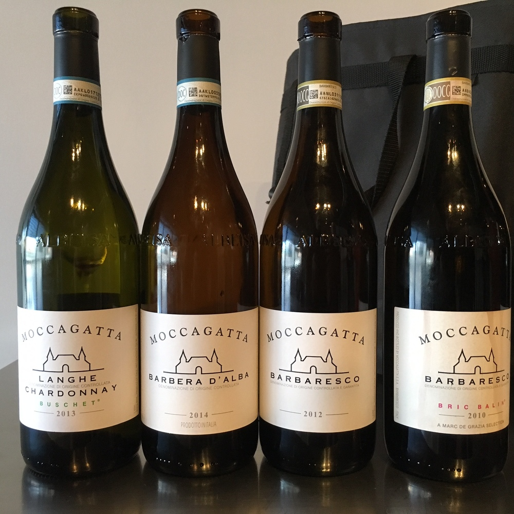 Tasting line up of the different wines from Moccagatta