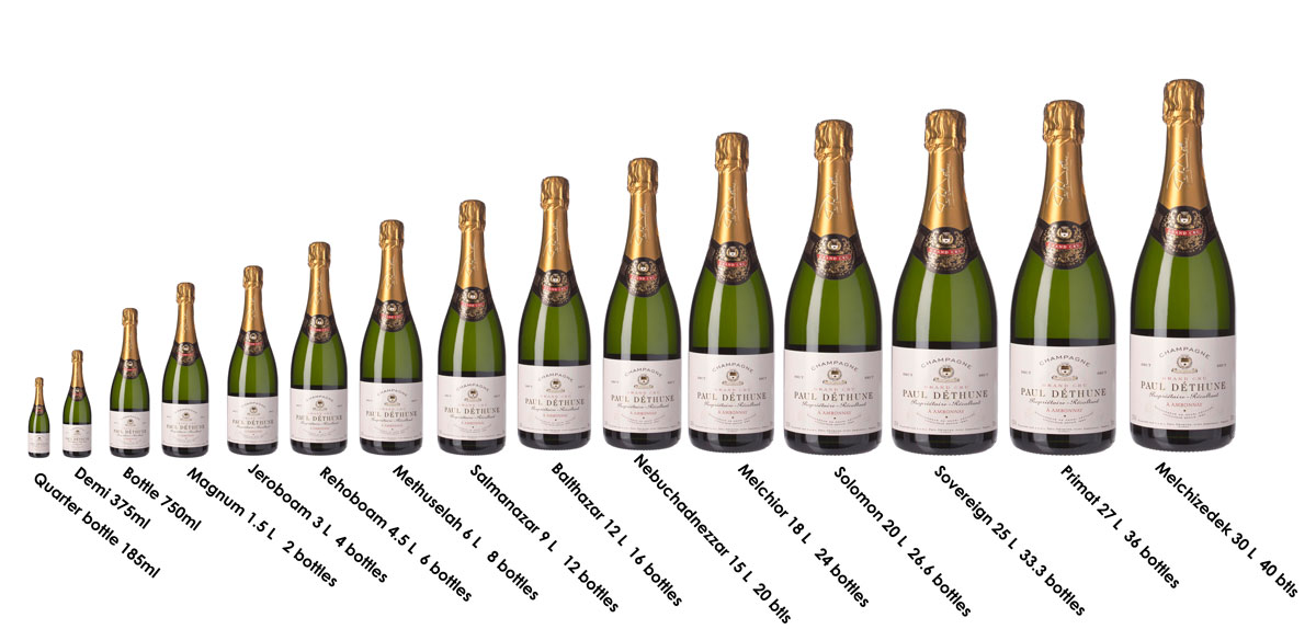 Traditional Champagne Bottle Size Chart and Measurements  Demi to