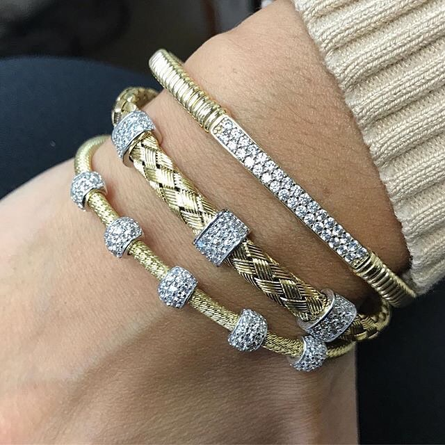 Stack your wrists with fabulous bangles and bracelets from Papas Gold City Jewelers! Stop in to find the right combination for you! 1880 Central Park Ave. Yonkers, NY 10710 914-337-6677 #jewelry #finejewelry #jeweler #papasgoldcityjewelers #yonkers #newyork #bangles #bracelets #gold #trendy #stacked #stackedbracelets #armcandy #diamonds #style