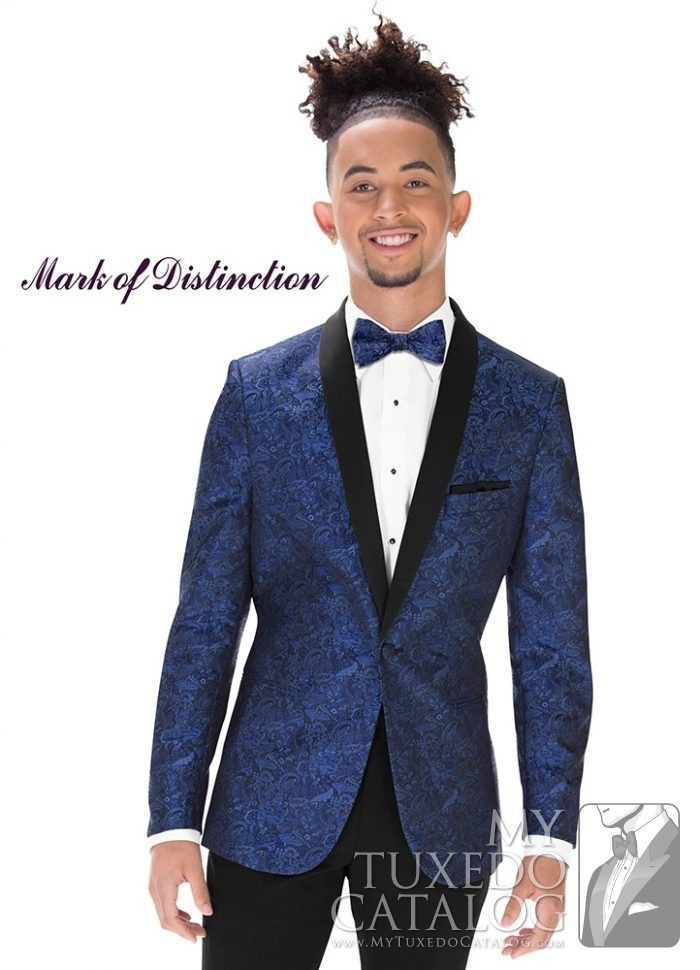 Cobalt Blue Paisley 'Aries' Slim Tuxedo by Mark of Distinction