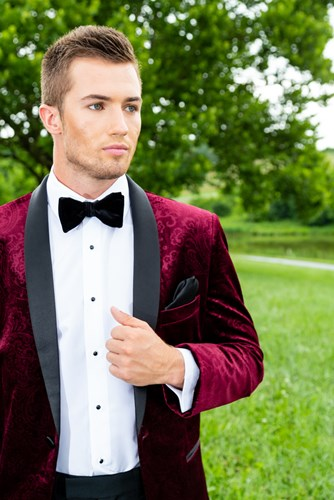 Burgundy 'Equinox' Embossed Velvet Slim Shawl Tuxedo Coat by Mark of Distinction   Available Colors for purchase:    Black and Burgundy