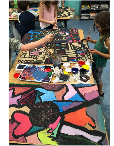 Students working on Black Line Paintings   4th Grade  Prospect Hill Elementary School