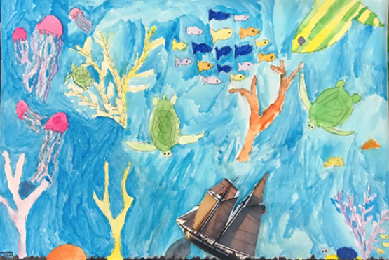 Mixed Media Landscape in Watercolor and Collage   5th Grade  Prospect Hill Elementary School